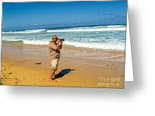 Photorgapher Near The Ocean Greeting Card