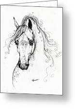 Piaff Polish Arabian Horse Drawing Greeting Card by Angel  Tarantella