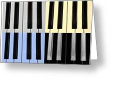 Piano Keys In Quad Colors Greeting Card