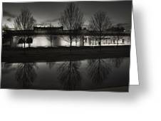Piano Pavilion Bw Reflections Greeting Card