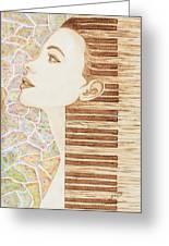Piano Spirit Original Coffee And Watercolors Series Greeting Card