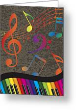 Piano Wavy Border With Colorful Keys And Music Note Greeting Card