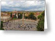 Piazza Del Popolo - Impressions Of Rome Greeting Card