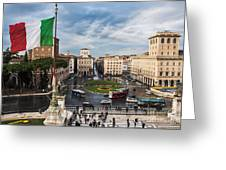 Piazza Venezia Greeting Card by John Wadleigh