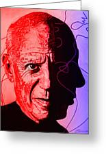 Picasso In Light Sketch 2 Greeting Card