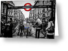 Piccadilly Circus Tube Station Entrance Greeting Card