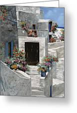 piccole case bianche di Grecia Greeting Card