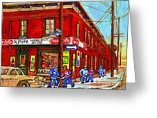 Piche's Grocery Store Bridge Street And Forfar Goosevillage Montreal Memories By Carole Spandau Greeting Card