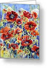 Picket Fence Poppies Greeting Card