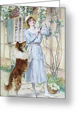 Picking Roses Greeting Card