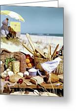 Picnic Display On The Beach Greeting Card