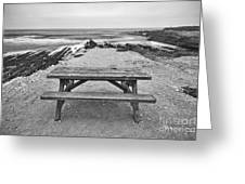 Picnic - Lone Table Overlooking The Ocean In Montana De Oro State Park In Caliornia Greeting Card