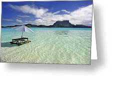 Picnic Table And Umbrella In Clear Lagoon Greeting Card