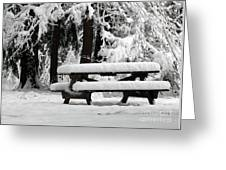 Picnic Table In The Snow Greeting Card