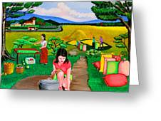 Picnic With The Farmers Greeting Card