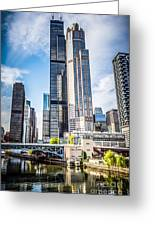 Picture Of Chicago Buildings With Willis-sears Tower Greeting Card