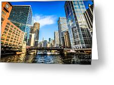 Picture Of Chicago River Skyline At Clark Street Bridge Greeting Card