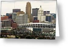 Picture Of Cincinnati Skyline Office Buildings  Greeting Card by Paul Velgos