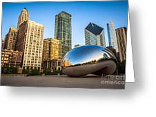 Picture Of Cloud Gate Bean And Chicago Skyline Greeting Card by Paul Velgos