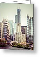 Picture Of Vintage Chicago With Sears Willis Tower Greeting Card