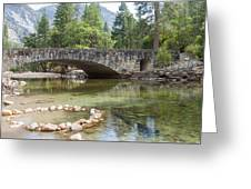Picturesque Bridge In Yosemite Valley Greeting Card