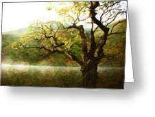 Picturesque Foggy Lake Greeting Card