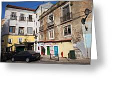 Picturesque Houses In Lisbon Greeting Card