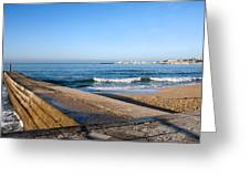 Pier And Beach By The Atlantic Ocean In Cascais Greeting Card