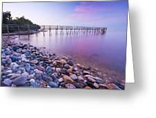 Pier And Shoreline Of Lake Winnipeg Greeting Card