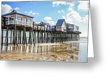 Pier At Low Tide Greeting Card