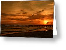 Pier At Sunset Greeting Card by Sandy Keeton