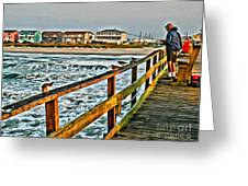 Pier Fishing 2 Greeting Card