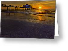 Pier Into The Sun Greeting Card