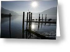 Pier On An Alpine Lake Greeting Card