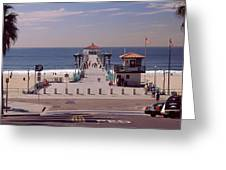 Pier Over An Ocean, Manhattan Beach Greeting Card