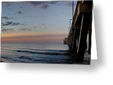 Pier Panorama At Sunrise  Greeting Card by Michael Thomas