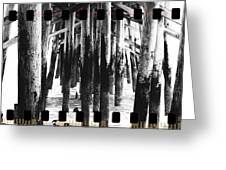 Pier Pilings Black And White Greeting Card