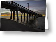 Pier Sunrise On A Cold January Morning Greeting Card