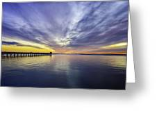 Pier Sunrise Greeting Card by Vicki Jauron