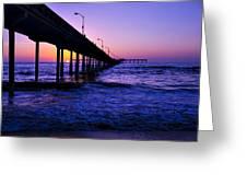 Pier Sunset Ocean Beach Greeting Card
