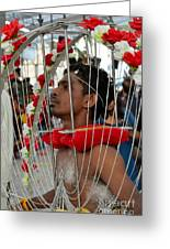 Pierced Hindu Devotee Wears Kavadi At Thaipusam Singapore Greeting Card