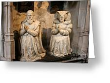 Pierre Jeannin And His Wife Sculpture Cathedral Autun Greeting Card