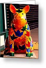 Pig Art Statuary Leaves Greeting Card
