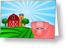 Pig On Green Pasture With Red Barn With Grain Silo  Greeting Card by JPLDesigns