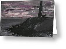 Pigeon Lighthouse Impasto Sunset Monochromatic Greeting Card