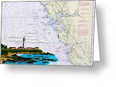 Pigeon Point Lighthouse On Noaa Nautical Chart Greeting Card