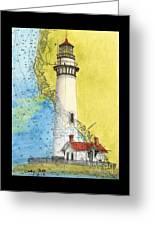 Pigeon Pt Lighthouse Ca Nautical Chart Map Art Greeting Card