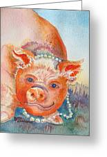 Piggy In Pearls Greeting Card
