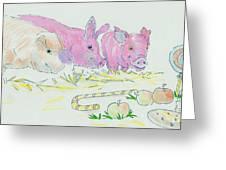 Pigs Cartoon Greeting Card