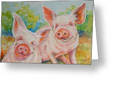 Pigs Pink And Happy Greeting Card